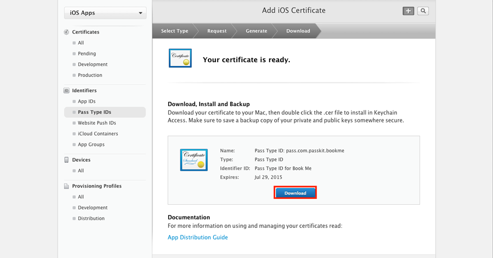 Download your certificate