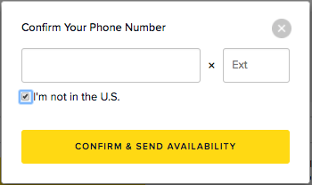 Confirm your phone number and send availability