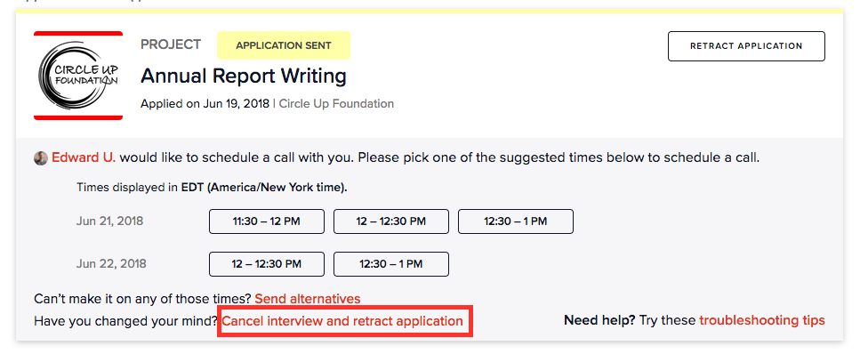 screenshot: if you're in the interview process and would like to retract your application: click