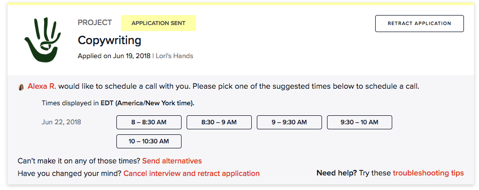 Selecting a time for a project interview.