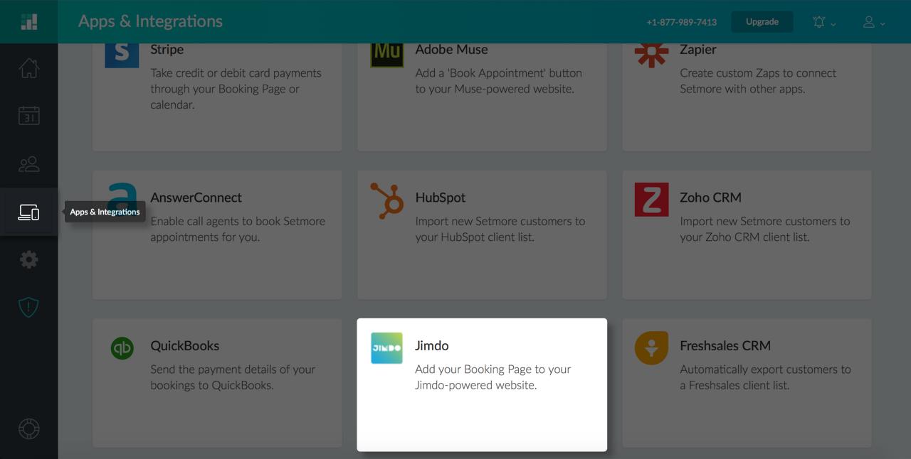 The Jimdo integration card under Apps & Integrations