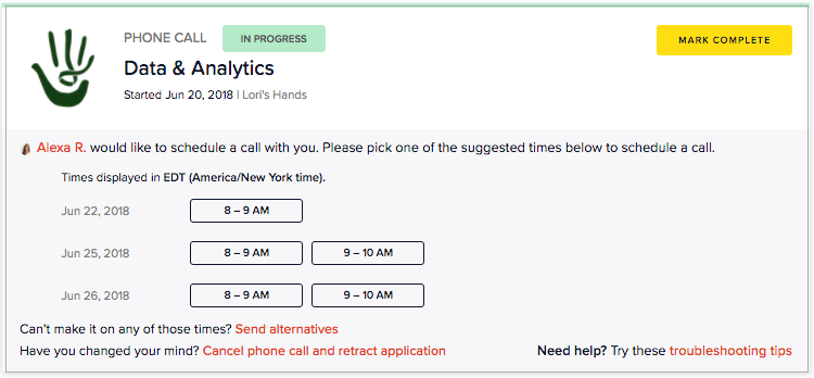 Choosing a date and time to speak on a Data & Analytics Call