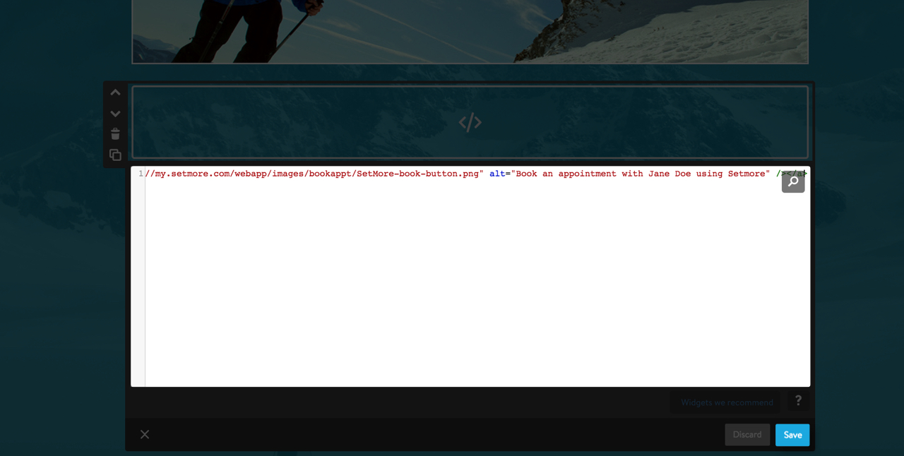Pasting the Setmore widget code into the HTML editor