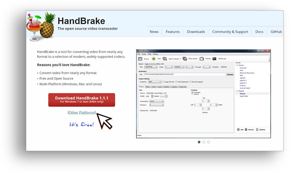 HandBrake main page