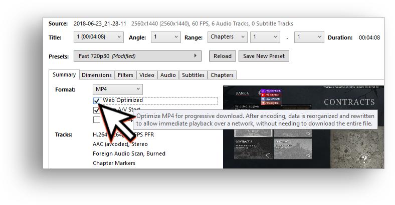 HandBrake video format settings