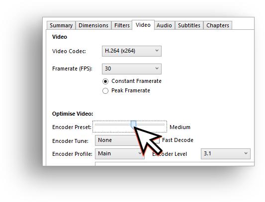 HandBrake video settings