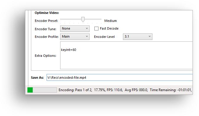 Video encoding status