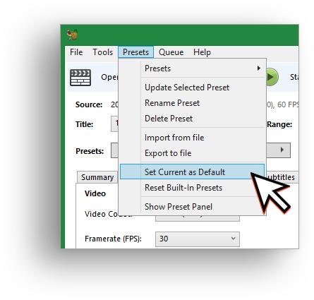Handbrake setting preset as default