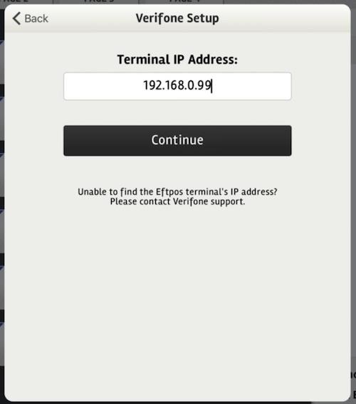 posBoss Eftpos Settings - enter Verifone Terminal IP