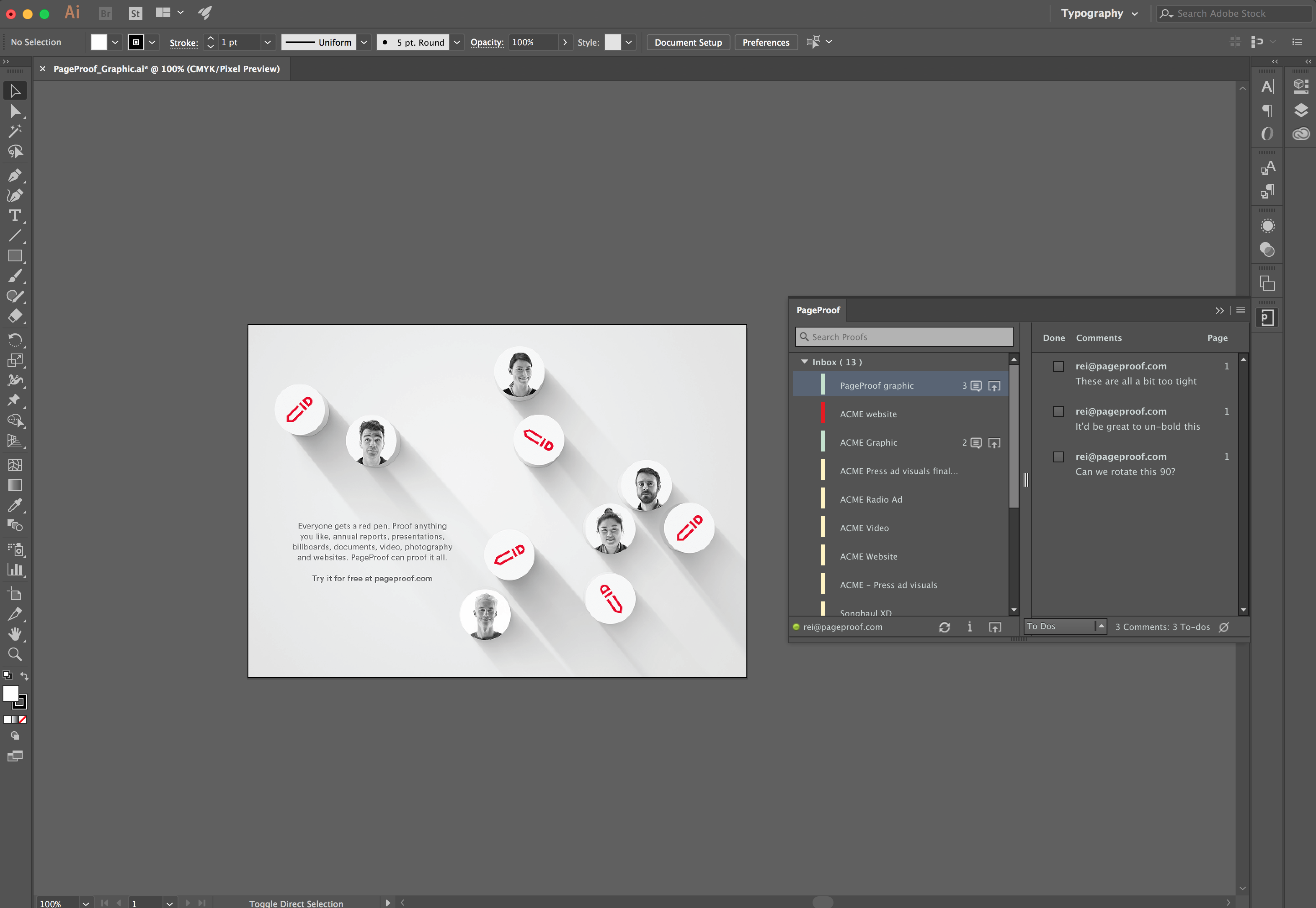 The PageProof panel in Adobe Illustrator