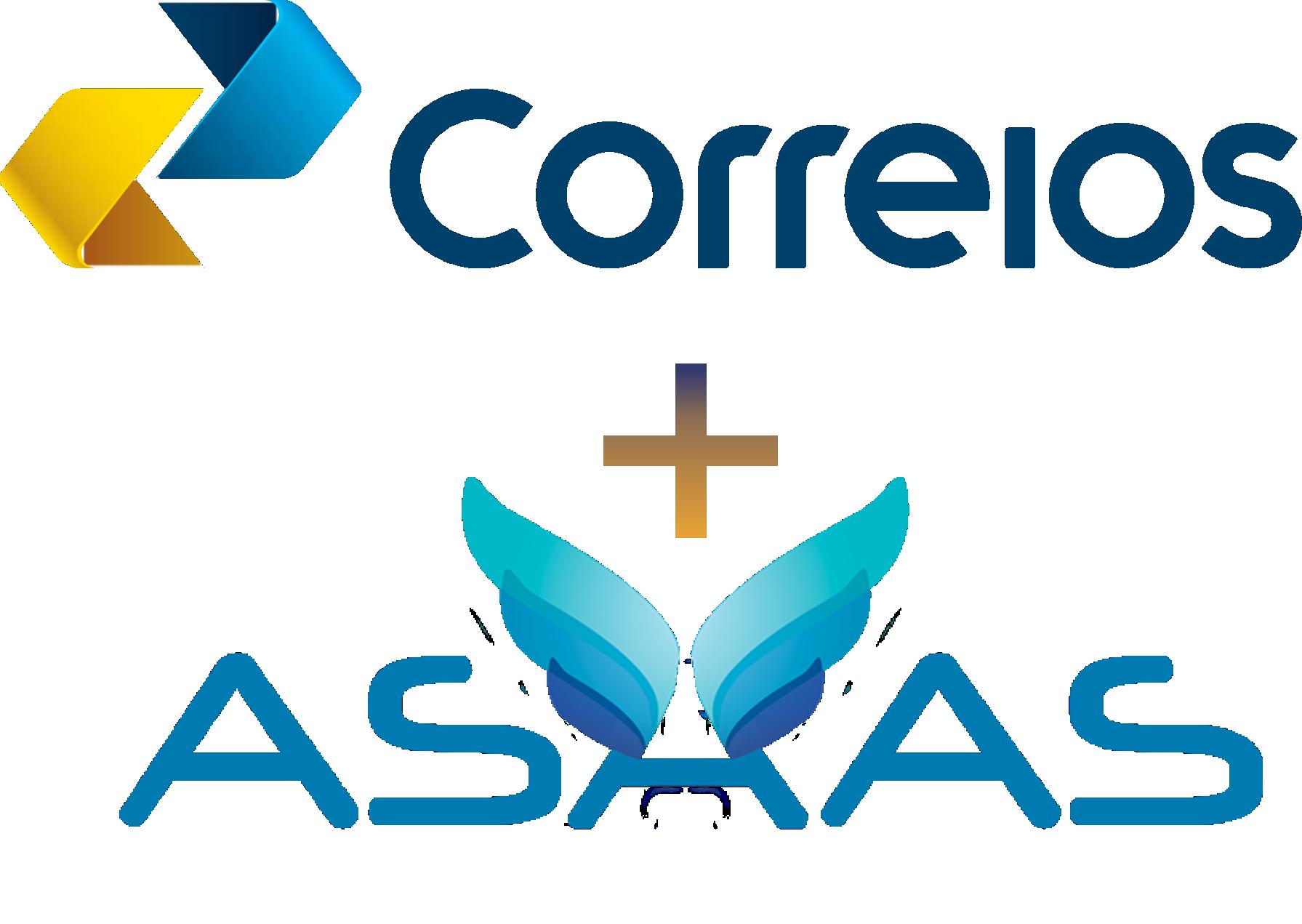Imagem da logo do correios + logo do Asaas