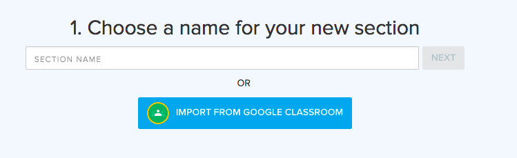 blue button below input box says Import from google classroom
