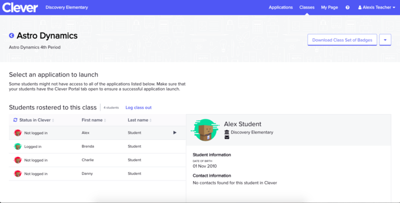 showing clever roster and logged in status of students