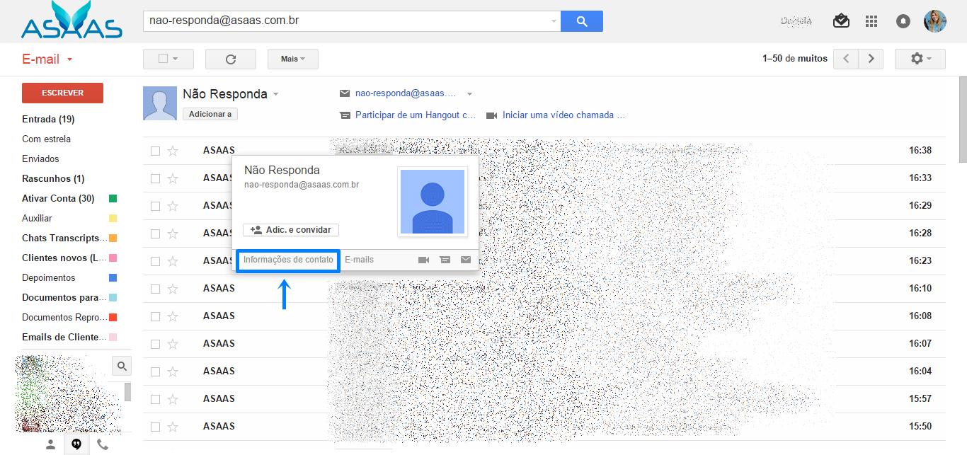 print da tela de e-mail do Gmail. Na parte dos e-mails uma caixa pop-up com as informações: Não responda, <a href=