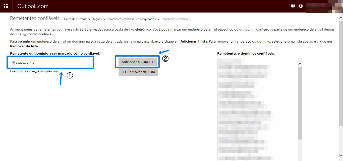 Print da tela: Barra do outlook, algumas informações em texto, e mais abaixo: remetente ou domínio a ser marcado como confiável: ______ ao lado um botão: adicionar a lista.