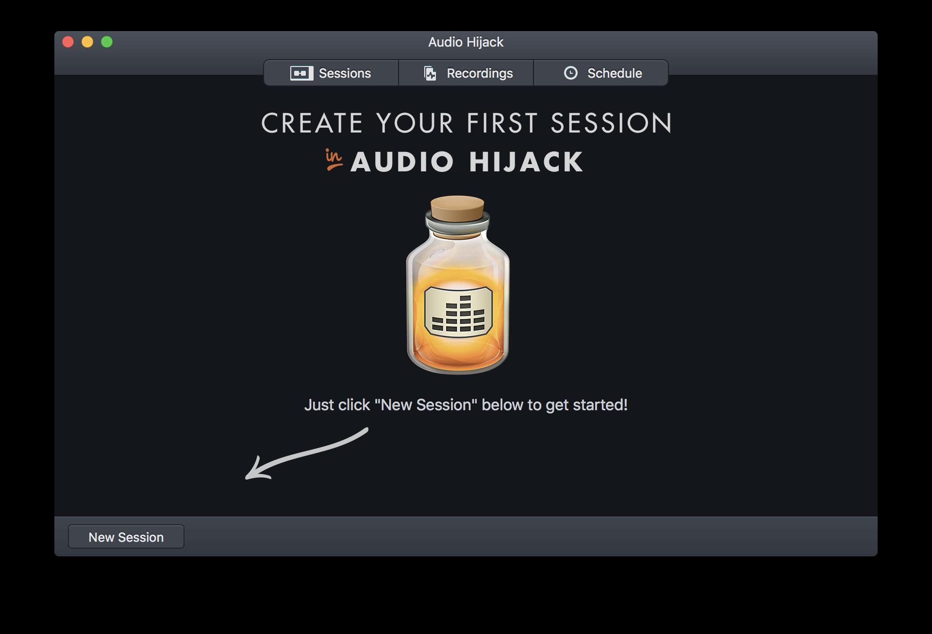 Audio Hijack welcome screen.