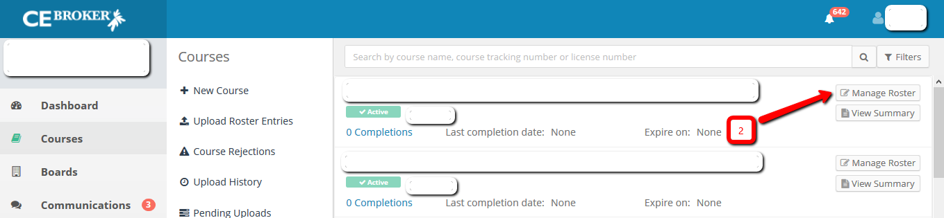 Screenshot of the course list with an arrow pointing to the Manage Roster button.