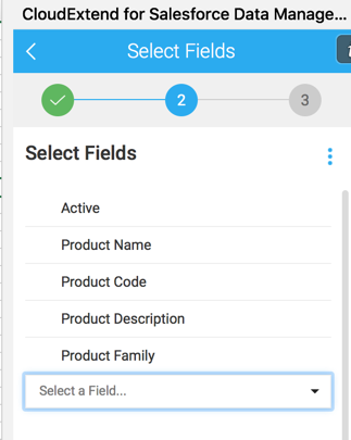 CloudExtend Excel for Salesforce Field Selection