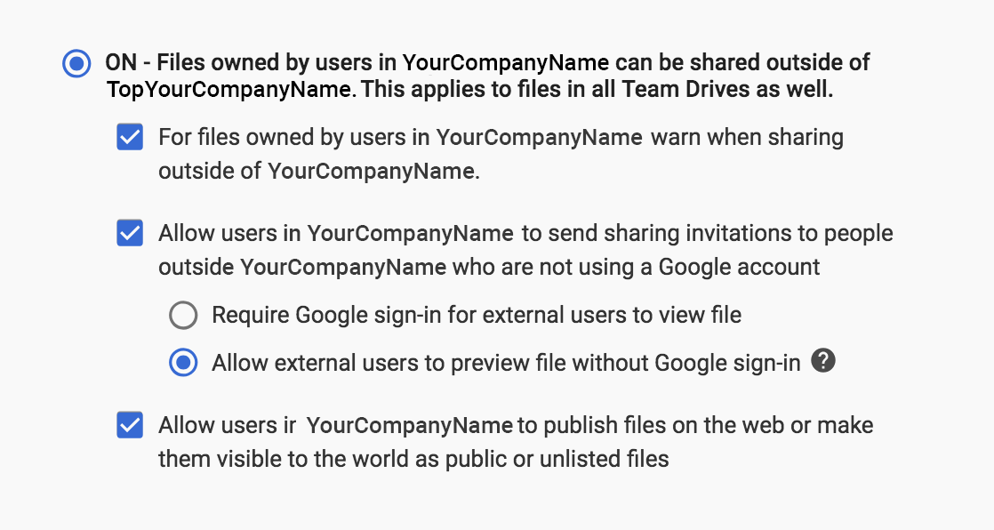 The sharing settings in your corporate Google account