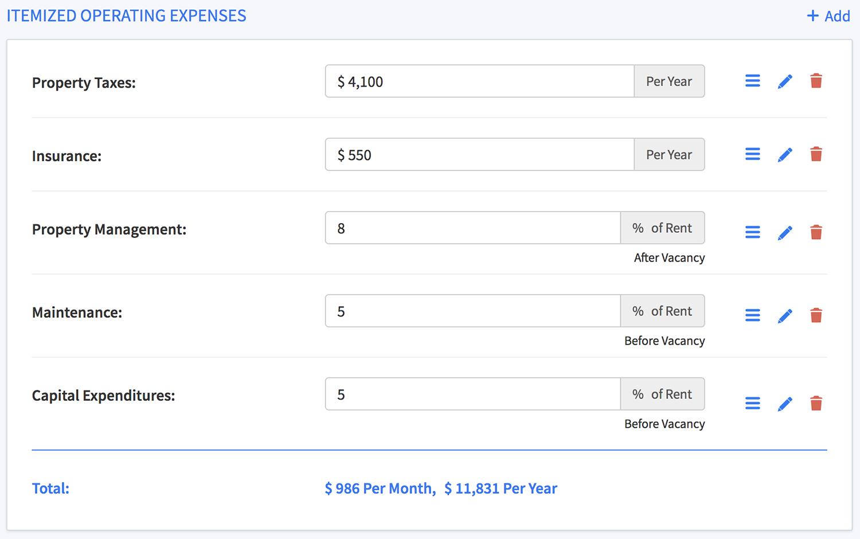 Operating expenses worksheet