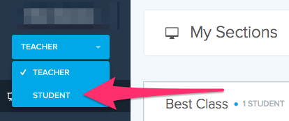 Screenshot of an arrow pointing to the left-hand sidebar dropdown menu that lets you choose between teacher and student view