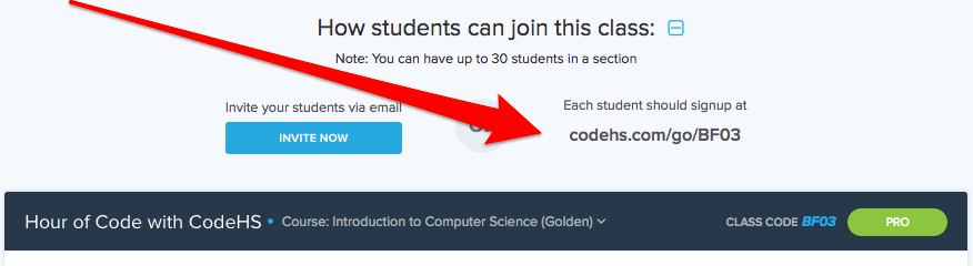Screenshot with an arrow pointing to the URL you can send to students to join the section