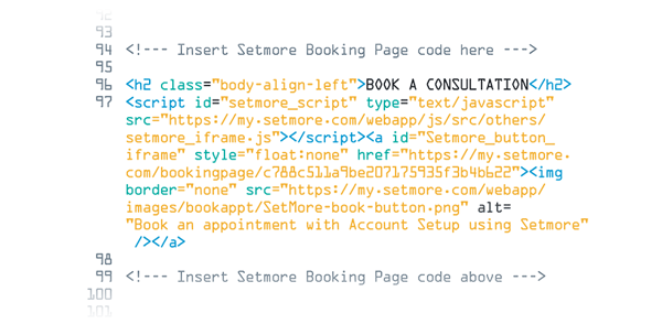 Adding the Booking Widget code to the website's source code.