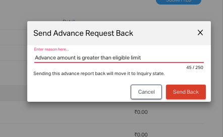 Enter the reason to send back the advance request