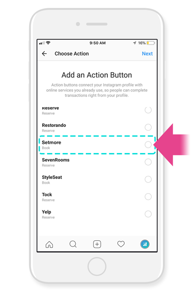 Adding Setmore as an Action Button to Instagram profile