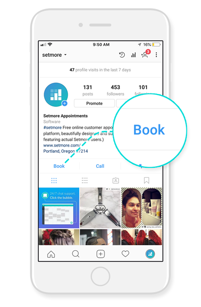 The Book button on the Instagram profile