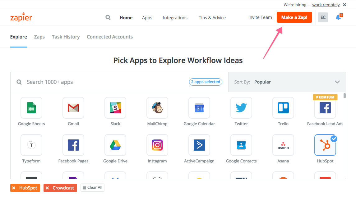 Screenshot of the Zapier interface with an arrow pointing to