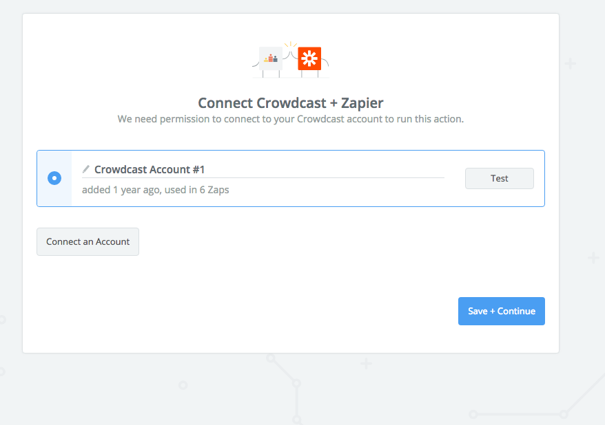 Screenshot of the page to connect your crowdcast account to Zapier.