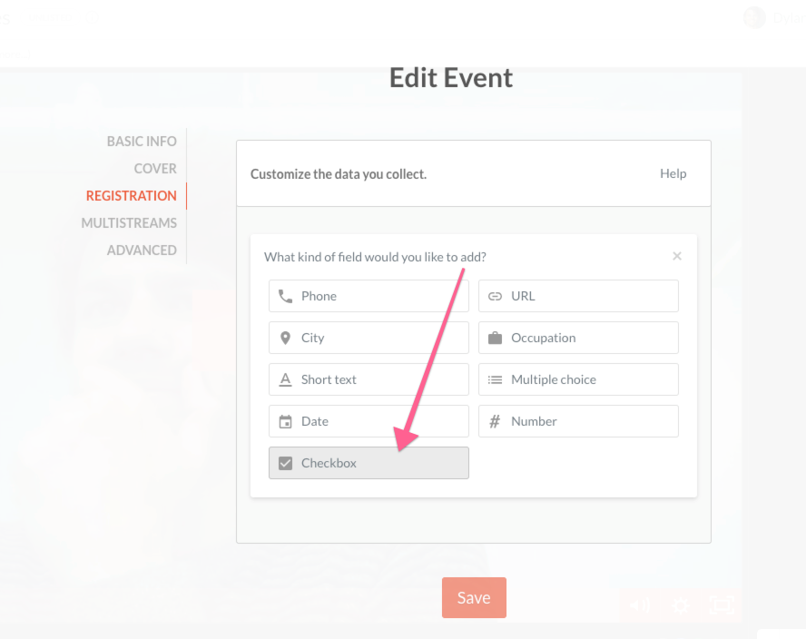 Checkbox option within the registration section of edit event