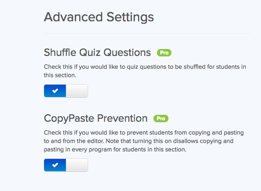 Screenshot showing Shuffle Quiz Questions and Copy/Paste Prevention