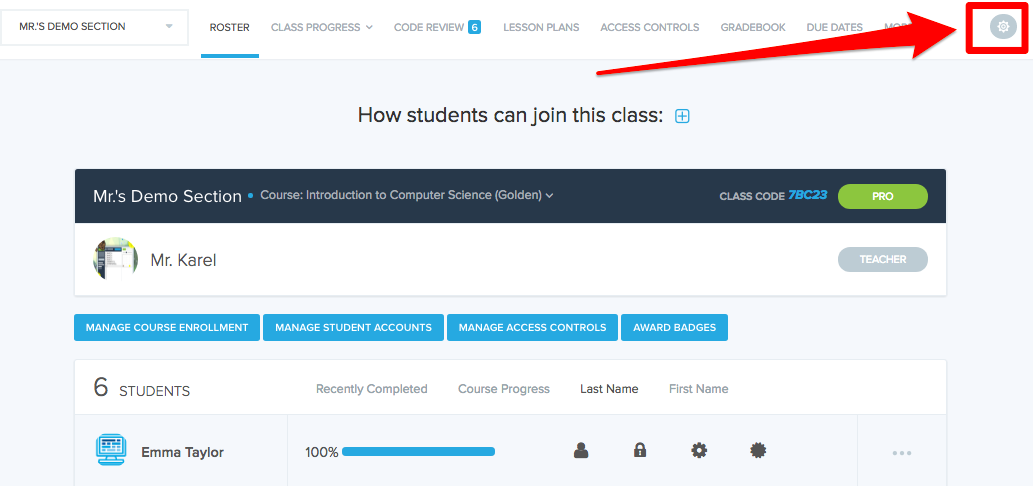 Screenshot showing settings button in upper-right corner of teacher page