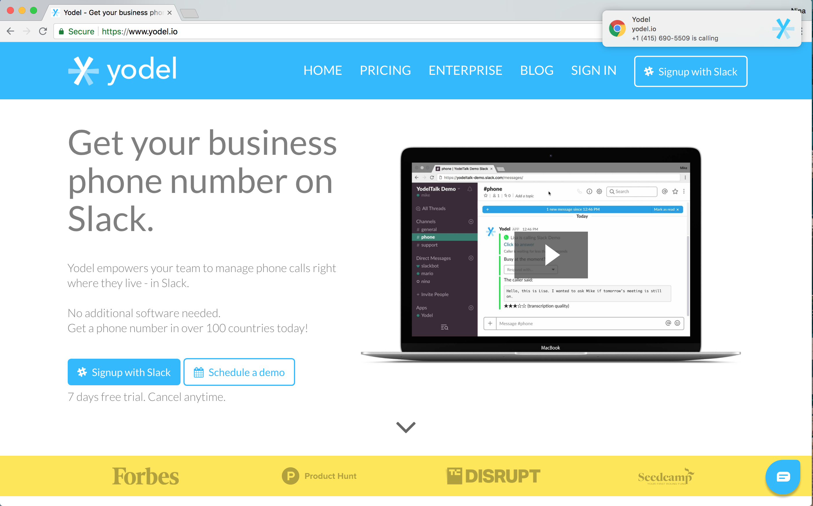 Yodel Business Phone System Notification