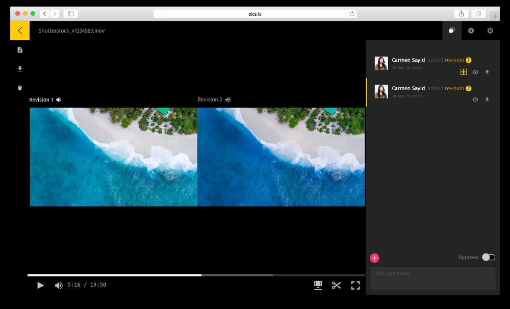 Comparing two videos in Pics.io