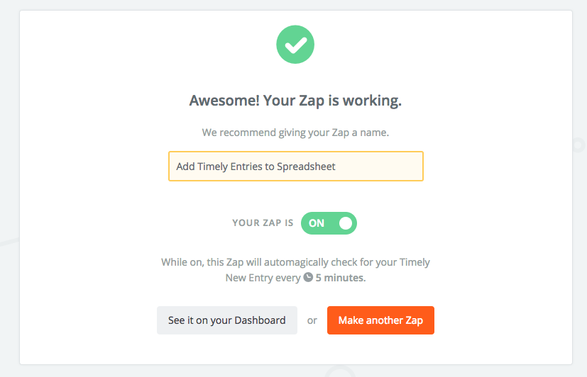 export timesheet entries to a google spreadsheet with zapier