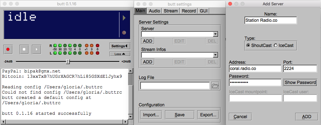 Adding a radio server to BUTT.
