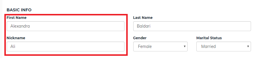 First Name and Nickname Fields