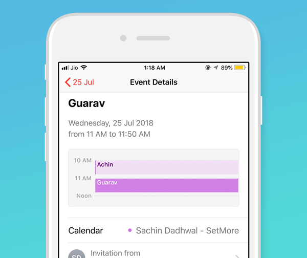 A Setmore calendar synced with iPhone calendar