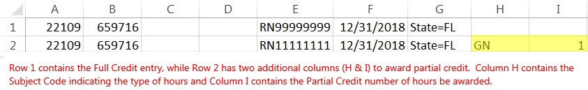 Screenshot of an example roster. Row 1 contains the full credit entry and uses columns A, B, E, F, and G. Row 2 contains the partial credit entry and has two additional columns, H and I.