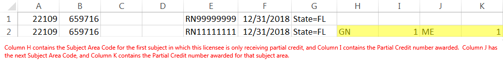 The same example roster with full credit in row 1 and partial credit in row 2. Row 2 uses Column H for a subject area code, Column I for the hours earned in that subject, Column J for a subject area code, and Column K for the hours earned in that subject.