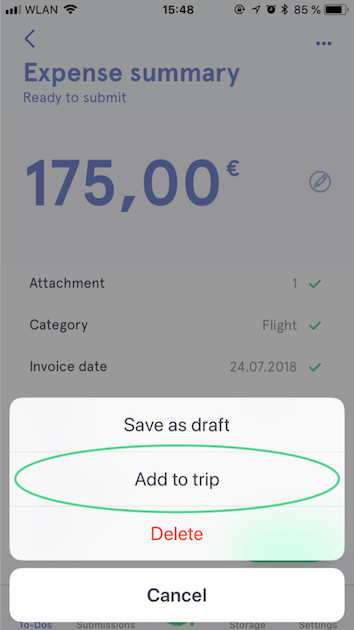 Add expenses to a trip