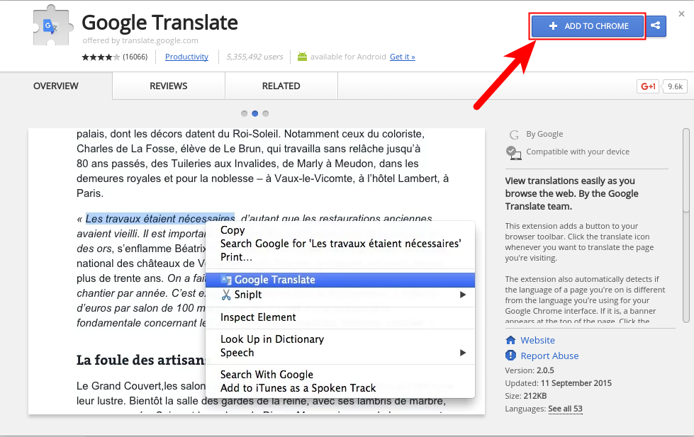 translate add-on install page
