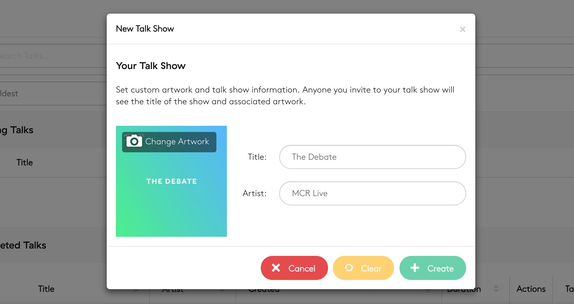 Talk show creation screen