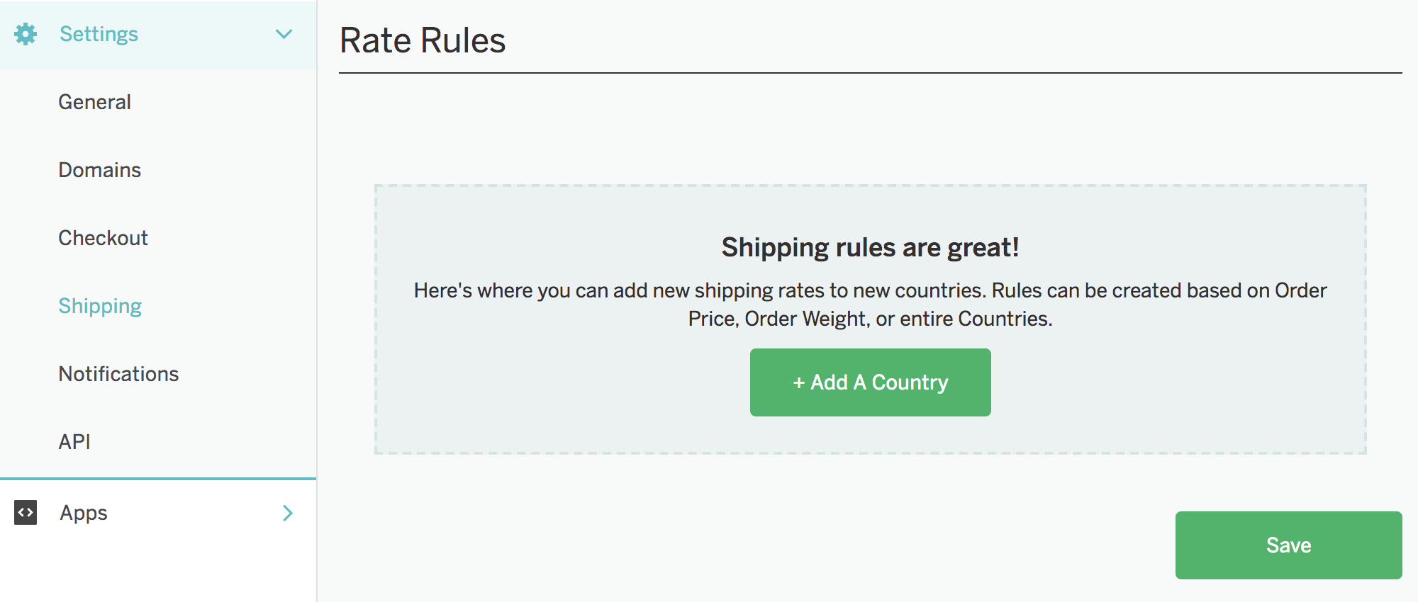 A screenshot showing the Shipping section of Settings in CrateJoy. Here, the 'Rate Rules' section is visible. There's an 'Add A Country' button at the center of the page under where it says 'Shipping rules are great! Here's where you can add new shipping rates to new countries. Rules can be created based on Order Price, Order Weight, or entire Countries.'