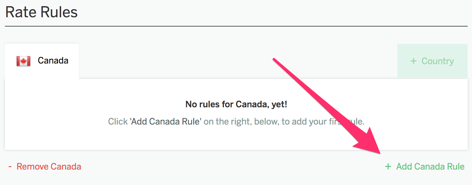 A screenshot showing the Rate Rules for Canada. At the bottom right corner, there's an option to 'Add Canada Rule.'