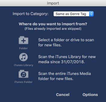Importing music files into MegaSeg.