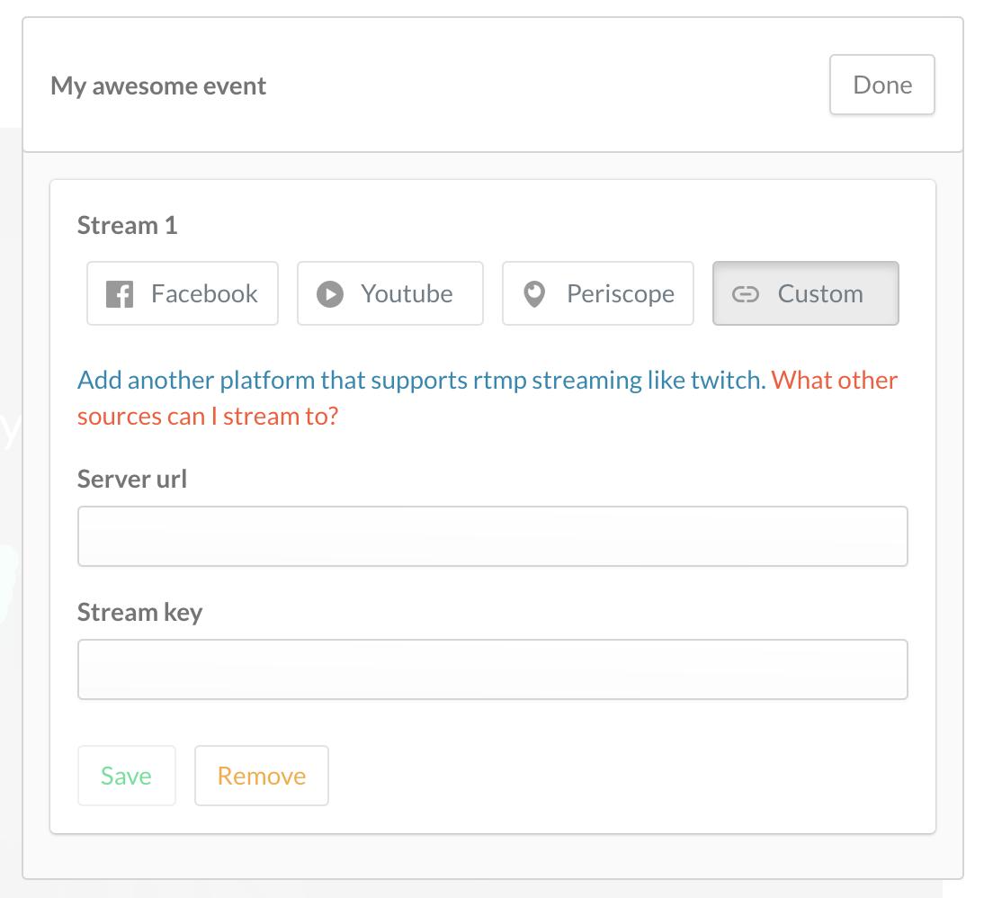 The custom stream key option within multistreams on crowdcast